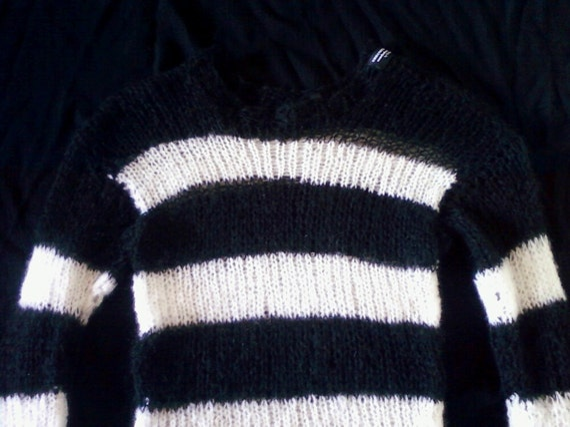 Mohair sweater by camdenlock clothing punk rock black and white stripe handmade knitting