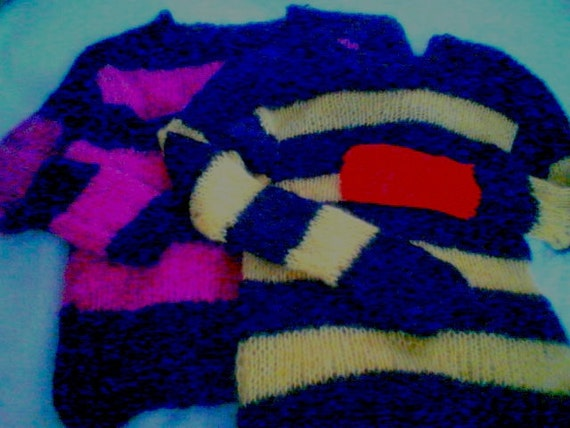Mohair sweater by camdenlock clothing punk rock new colors black and pink stripe handmade knitting