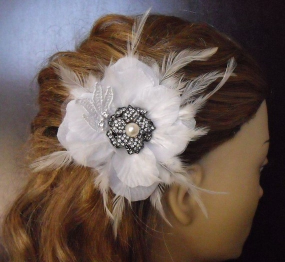 White Flower, Vintage Fascinator, Headpiece, Sample A001
