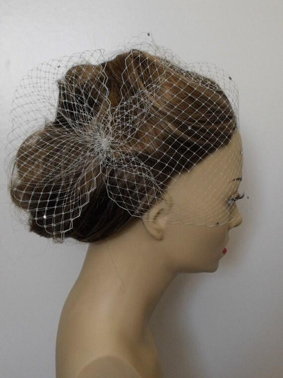 Ivory Birdcage Veil, Side Pouf with Swarovski Rhinestones, Birdcage veil with Swarovski Rhinestones,Swarovski rhinestones,style VB007