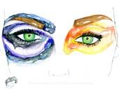 "Galaxy and Space Fashion Illustration -- ""Control & Chaos"" fashion sketch -- F R E E    shipping"