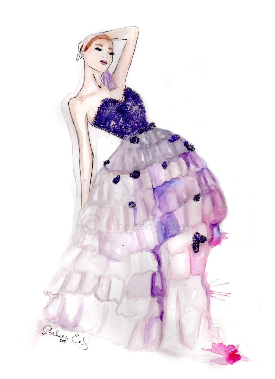 Items similar to Orchid Fashion Illustration -- watercolor ...