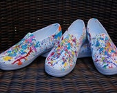 Super Cool Coachella Hand Painted Color Splashed Summer Canvas Sneakers Size 7
