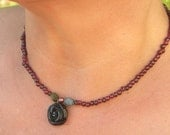 red garnet necklace with obsidian rose, tourmaline and pearl