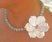pearl flower necklace on aquamarine - (Made to order in your choice of gemstones.)