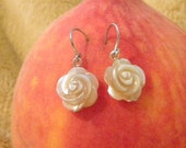 creamy iridescent mother-of-pearl rose flower earrings on sterling silver
