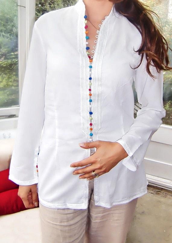 White multi-coloured Button Moroccan Tunic