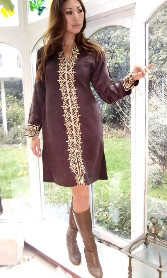 xxxSale-Sale-Sale xxx Moroccan Brown Tunic Winter Dress (Golden Embroidery)