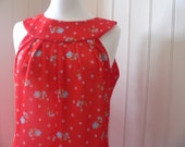 SALE - 50 percent off - 60s Red Floral Shift Dress