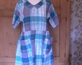 SALE - 50 percent off - 60s Blue and Grey Plaid Peter Pan Collar Dress