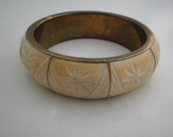 Vintage Brass Bangle Bracelet with carved bone