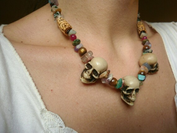 Necklace  Skulls  and gemstone