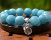 Large Bead Aquamarine Bracelet with Om Charm for Inner Peace - energyshop