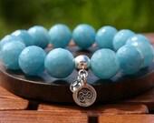 Large Bead Aquamarine Bracelet with Om Charm for Inner Peace