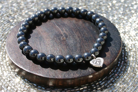 Hematite Yoga Bracelet with Lotus Flower Heart Charm