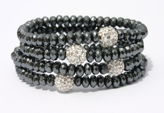 The Energy Shop Hematite Rondelle and Pave Swarovski Crystal Bracelet