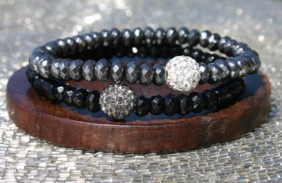 2 Pack of Hematite and Onyx with Pave Swarovski Crystal Bracelets