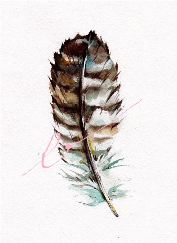 Great Horned Owl  Feather 8x10 inch original watercolor July SALE