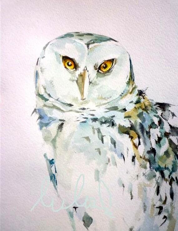 Snowy OWL 8x10 inch original watercolor