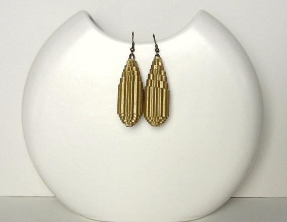 Golden: Statement Earrings - corrugated cardboard