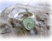 Mint Green Beach Glass Seaglass Ring