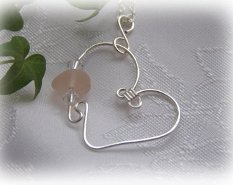 Pink Beach Glass Heart Pendant