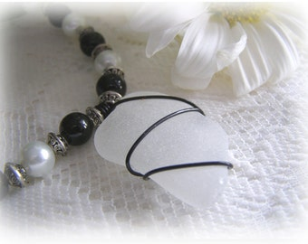Frosted White Beach Glass Necklace - Black White Beaded Necklace