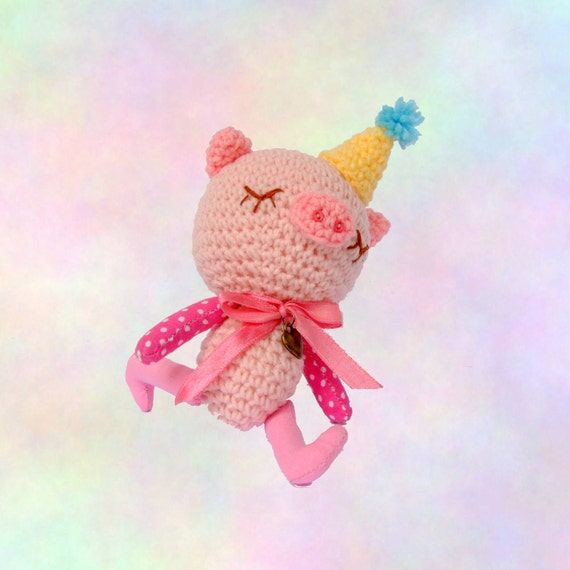 Crocheted Amigurumi Sleepy Head Piggy - (Finished Product)