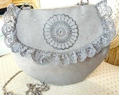 Grey Ultrasuede Purse with Chain