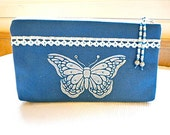 Blue Hand Painted Butterfly  Zippered Pouch