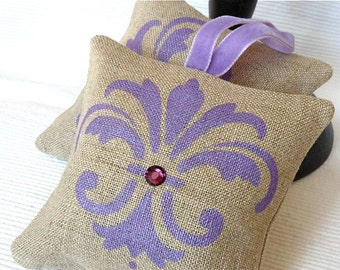 Set of 2 Hand Painted Lavender Sachets