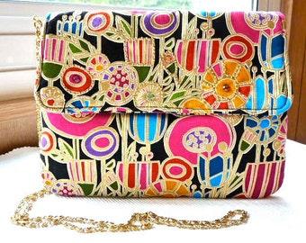 A Modern Multicolored Beaded Purse Art Deco Purse Beaded Handbag Colorful Vegan Purse Designer Fabric Purse Crossbody Purse