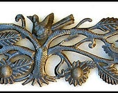 "Handcrafted Metal Wall Hanging - Birds and Flowers - Metal Wall Decor - Haitian Recycled Steel Oil Drum Metal Art - 8"" x 34""-JJ-610"