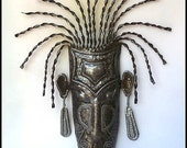 "Metal Wall Hanging - Haitian Ethnic Mask - African Tribal Design - Metal Tribal Mask Wall Decor - Recycled Steel Drum Metal Art - 22"" -1807"