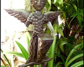"""Garden Plant Stick - Angel Plant Marker - Garden Art, Plant Stake, Outdoor Metal Art, Recycled Steel Drum Art from Haiti -11"""" x 14"""" -PS-1760"""