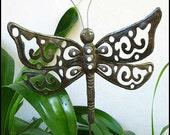 "Metal Garden Art -Metal Plant Stake - Dragonfly Garden Plant Stick- Outdoor Garden Decor, Steel Drum Art from Haiti - 11"" x 13"" - PS-1788"