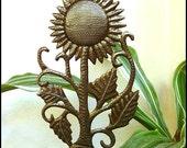 "Sunflower Metal Plant Stake - Garden Plant Marker 7"" x 12""- Sunflower Outdoor Garden Decor - Handcrafted Steel Drum Art from Haiti - PS-1769"