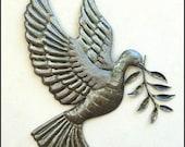 Metal Wall Art -Metal Art Peace Dove w/ Olive Branch - Recycled Haitian Steel Oil Drum Bird Design, Metal Wall Decor, Metal Bird Art  - 303