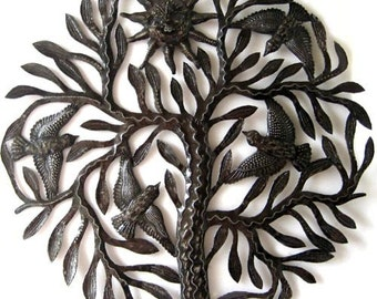 "Metal Art,  Birds in Tree Wall Hanging,Tree of Life, Haitian Art,  Recycled Steel Drum, Tree Decor, Metal Wall Art- 24""  - 402"
