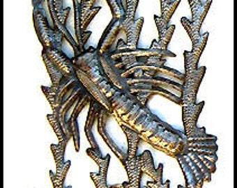 "Metal Wall Hanging - Metal Wall Art - Metal Wall Decor,  Metal Sculpture, Recycled, Steel Drum Art from Haiti - Metal Art -  8"" x 34""-JJ654"