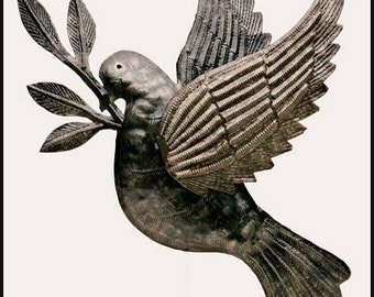 "Peace Dove, Metal Art Bird Wall Hanging, Handcrafted Haitian Steel Oil Drum Wall Decor, Metal Wall Art, Haitian Metal Art - 10"" x 12"" - 1638"