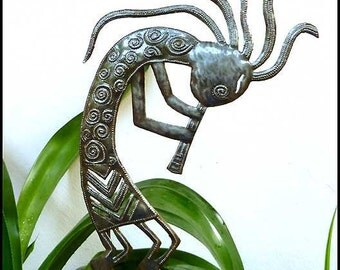 Metal Plant Marker - Southwestern Kokopelli Garden Plant Stake, Garden Metal Art -  Steel Drum Art from Haiti - Garden Plant Stick - PS-1798