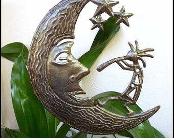 "Garden Art - Metal Plant Stake - Moon & Kokopelli, Garden Plant Marker - Metal Art, Metal Plant Stick -  11"" x 12"" - Haitian Art - PS-1791"