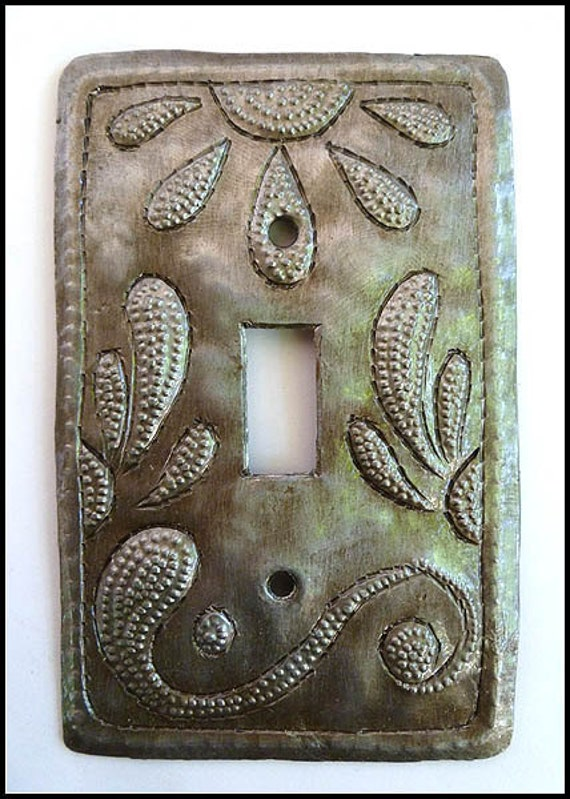 Metal Switchplate Cover - Decorative Switch Plate Metal Art - Light Switch Cover -  Hand Hammered Haitian Recycled Steel Drum Art - HS-103-1