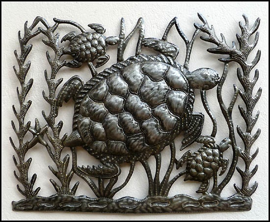 Turtle Metal Wall Hanging Metal Art Haitian Art Outdoor