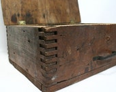 Vintage Rustic Wood Latch Box with Handle