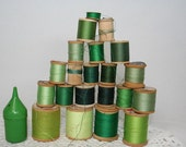 Wooden Thread Spools - Green Collection