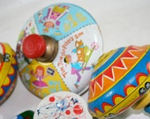 Colorful Old Tin Toys, Tops, Noise Makers and Airplane