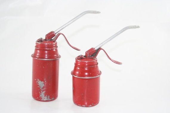 Pair of Ruby Red Oil Cans with Chippy Paint