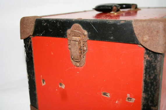 Vintage Red Box with handle and latch